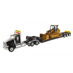 International HX520 Tandem Day Cab Tractor with XL 120 Lowboy Trailer in Black and Cat 963K Track Loader