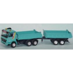 "Mercedes 3 axle dump w/ 2 axle dump trailer ""GILCH'"