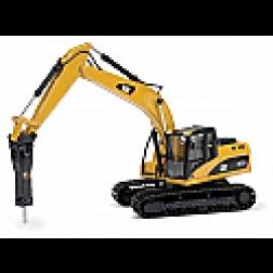 Caterpillar 323D excavator with demolition hammer